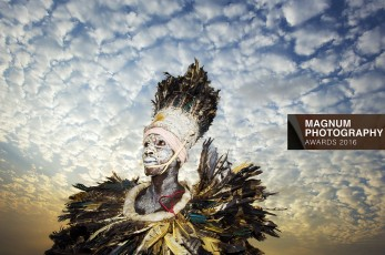 West African tribal dancer waiting to perform at the Liberia National Peace and Cultural Festival in Monrovia; Liberia